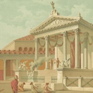Decoration Pompeii Temple Of Fortuna Augusta Lithography Original Xixth $175.49