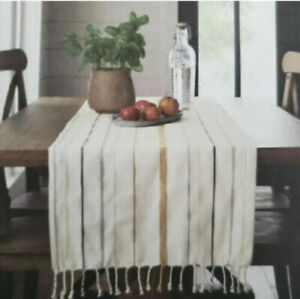 New Hearth Hand Oversized Linen and Cotton Striped Table Runner 20X90