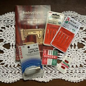 Singer Sewing Needles Lot With Light Bulb And Vintage Instruction Book $18.00
