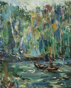 Art Oil Painting by RM Mortensen Landscape River Swamp Backwater Boat Fishing $99.00