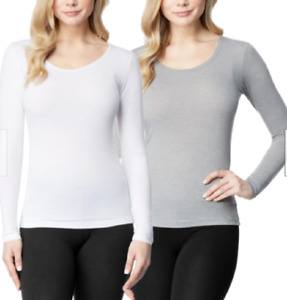 32 Degrees Heat 2 PACK Womens Base Layer Long Sleeve Tops White Grey Size L $18.99