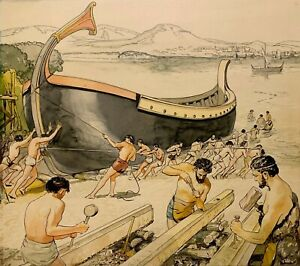 1947 ORIGINAL SIGNED ILLUSTRATION PAINTING Phoenician Shipbuilding Historical $300.00