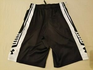 Boys Under Armour Shorts YSM Youth S Small Black Athletic Gym Workout $8.99