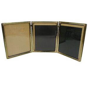 Vintage TRI FOLD Gold Tone Brass picture frame Table Ornate for 8quot; x 10quot; $26.00