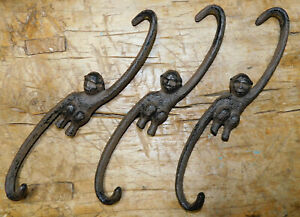 3 HUGE Cast Iron Antique Style MONKEY HOOKS #x27; S #x27; Plant Hook Links 9 1 2 inch $9.99