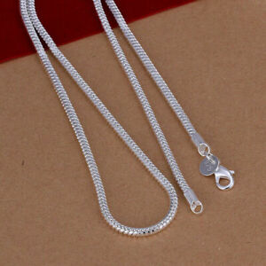 16quot; 24quot; Mens Womens 925 Sterling Silver 3mm Wide Snake Chain Necklace #N230