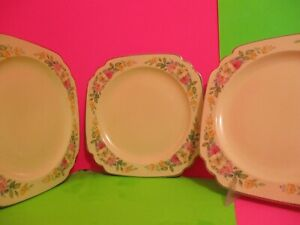 Homer Laughlin Riviera Floral Decal Luncheon Plates $12.00