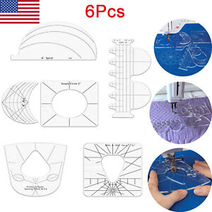 6Pcs Quilting Rulers Template Sample for Domestic Sewing Machine 2.5mm Thickness $15.99