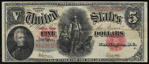 1907 $5 Large United States Wood Chopper Note quot;VFquot; *Free S H After 1st Item*