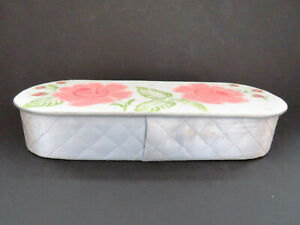 Vintage Glove Box Painted Pink Roses on Blue Quilted Box Gloves Handkerchiefs $28.00