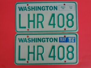 1986 Washington WAWN State license plate pair used for 1983 1986 YOM