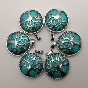 Natural Stone Alloy 12pcs lot Tree Necklace Pendant for Jewelry making wholesale $18.55