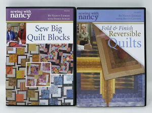 2 SEWING WITH NANCY Zieman DVD Lot — Reversible Quilts Sew Big Quilt Blocks $24.99