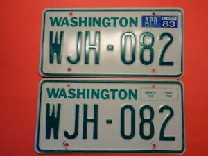 1983 Washington WAWN State license plate pair used for 1983 1986 YOM #WJH 082