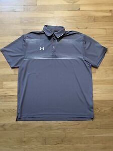 Under Armour Golf Polo HeatGear Loose Striped Athletic Golf Shirt Mens Sz XL $18.55