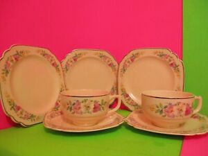 Homer Laughlin Riviera Floral Decal Cups Saucers $15.00