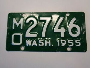 1955 Washington WA WN State Motorcycle  license plate MO 2746 Rare vintage YOM