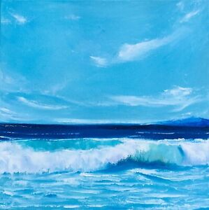 Ocean Painting California Seascape Original Art Canvas 14 by 14In By Chernetsova $65.00
