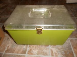 Vintage Wilson WIL HOLD Plastic Sewing Box Case Green with 2 Trays Excellent $35.00