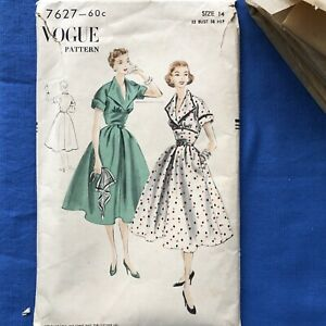 Vogue 7627 Vintage Sewing Pattern 1952 One Piece Dress W Wide Pleated Skirt $15.00