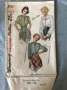 Simplicity 2935 Vintage Sewing Pattern 1949 Button Front Fitted Blouse 3 Views $10.00