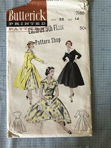 Butterick 7168 Vintage Sewing Pattern 1955 Dress Redingote Fitamp;Flare Wide Collar $18.00