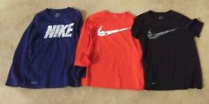 LOT OF 3 Nike Mens Dri Fit Shirts Red Navy Black Size Medium L S and S S $29.99