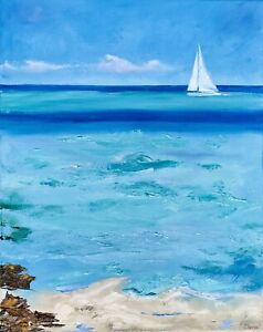 Sailboat Painting Impasto Seascape Original Canvas 16 by 20In By Chernetsova $85.00