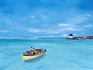 Yellow Boat Painting Seascape Original Art Nautical Canvas Artwork 18 by 24 in $85.00
