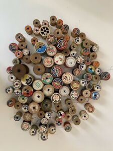 99 Vintage thread spools almost all Wooden Coats amp; Clark etc $25.00