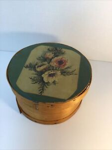 sewing box wood vintage Cheese box. w sewing supplies $49.00