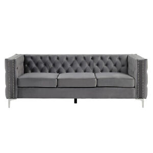 Morden Fort 3 Seat Sofa with Dutch Velvet Solid Wood Frame and Iron Legs Grey