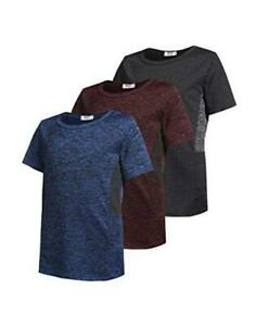 Boys 3 Pack Performance Dry Fit T Shirts Moisture Large Blue Red Black $52.64