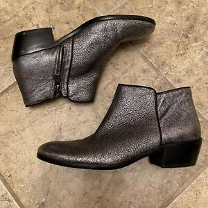 Sam Edelman PETTY Womens Booties Size 7.5 M Ankle Boots Argento Metallic Silver $19.95