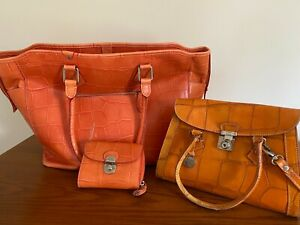 Dooney Bourke Tote Satchel and Wallet Set in lovely orange leather.  $100.00