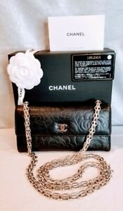 Authentic Chanel Camellia Long Wallet on Chain WOC Booklet Flower Ribbon Box $949.00