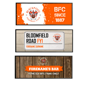 Personalised Blackpool FC Bar Runners Choose Design Gift Fan Supporter