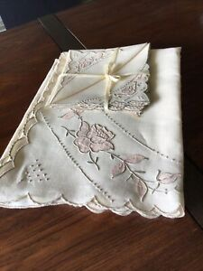 Peony Vintage MARGHAB MADEIRA Embroidery Linen Tablecloth amp; 4 Napkins $214.00