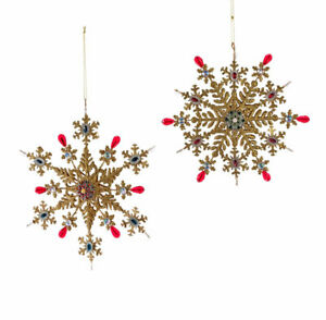 Katherines Collection Set 2 Large Gold Jeweled Snowflake Ornaments NWT