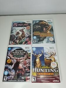 Lot of 4 Hunting Games for Nintendo Wii Deer Drive Cabelas Hunting Expedition