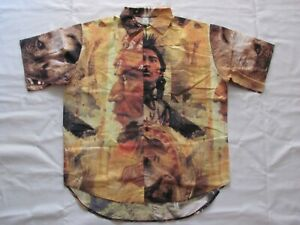 American Native Ultra Rare Vintage Shirt Size 45 XL Made IN Italy $88.99
