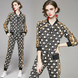Spring Fall 2pcs Women Sets Letters Print Jacket Coat Pants Tracksuits Outfits