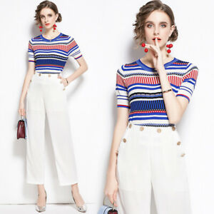 Spring Fall 2pcs Women Sets Knitted Striped Print Top Blouse Pants Suits Outfits