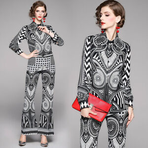 New Spring Summer Fall 2pcs Women Sets Floral Print Blouse Pants Suits Outfits