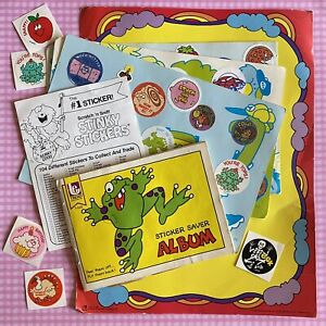 Vintage 80s Trend Scratch amp; Sniff Stinky Sticker Book LOT Used Frog Album Pages