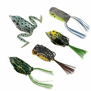 RUNCL Topwater Frog Lures Soft Fishing Lure Kit with Tackle Box Pack of 5