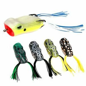 RUNCL Topwater Frog Lures with Twin Skirts Soft Fishing Lure Kit Pack of 5