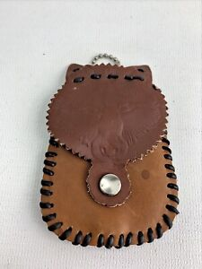 Vintage Leather Wolf Coin Pouch Handmade Kit Craft $8.99