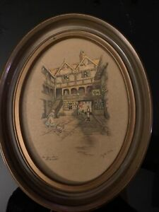 Vintage Lithograph Of The New Inn By Clyde Cole. $15.00