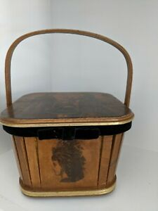 Sewing basket wood yellow velvet interior handle victorian pictures $8.00
